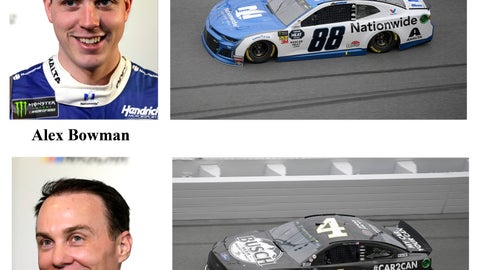 <p>               In these photos taken in February 2019, qualifying drivers and their cars in the starting field for Sunday's NASCAR Daytona 500 auto race are shown at Daytona International Speedway in Daytona Beach, Fla. They are, from top, Row 1, William Byron, Alex Bowman, Row 2, Kevin Harvick and Joey Logano. (AP Photo)             </p>