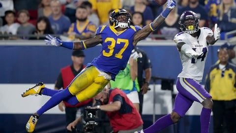 <p>               FILE - In this Sept. 27, 2018, file photo, Los Angeles Rams defensive back Sam Shields, left, breaks up a pass intended for Minnesota Vikings wide receiver Stefon Diggs during the first half of an NFL football game in Los Angeles. Shields is one of just four Rams who has played in the Super Bowl before. He finds the privilege even sweeter the second time around. In that big game against Pittsburgh eight years ago, Shields won a ring as an undrafted rookie defensive back making plays for Green Bay. He eventually became a Pro Bowl cornerback for the Packers before a fairly innocuous tackle in the 2016 season opener changed his life. (AP Photo/Jae C. Hong, File)             </p>
