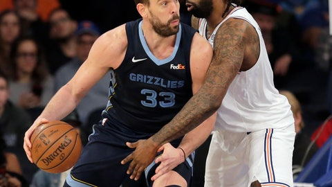 Memphis Grizzlies&#039 Marc Gasol left drives against New York Knicks&#039 De Andre Jordan during the second half of an NBA basketball game in New York. Toronto Milwaukee and Philadelphia