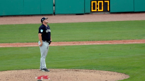 <p>               New York Yankees pitcher Cale Coshow prepares to pitch as the pitching clock winds down during a spring training baseball game against the Boston Red Sox in Fort Myers, Fla., Saturday, Feb. 23, 2019. (AP Photo/Gerald Herbert)             </p>