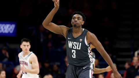 <p>               Washington State forward Robert Franks gestures after scoring a basket against Arizona during the second half of an NCAA college basketball game Saturday, Feb. 9, 2019, in Tucson, Ariz. Washington State won 69-55. (AP Photo/Rick Scuteri)             </p>