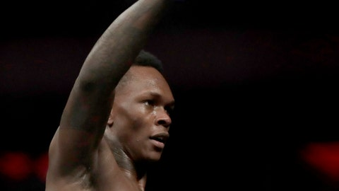 <p>               FILE - In this Nov. 3, 2018, file photo, Israel Adesanya reacts after defeating Derek Brunson during the first round of a middleweight mixed martial arts bout at UFC 230 at Madison Square Garden in New York. Adesanya faces Brazilian mixed martial arts trailblazer Anderson Silva on Sunday in Melbourne, Australia. (AP Photo/Julio Cortez, File)             </p>