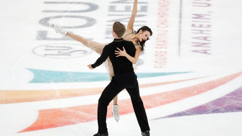 <p>               Madison Chock and Evan Bates, of the United States, perform during the ice dance free dance competition at the Four Continents Figure Skating Championships on Sunday, Feb. 10, 2019, in Anaheim, Calif. (AP Photo/Chris Carlson)             </p>