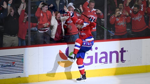 <p>               Washington Capitals center Evgeny Kuznetsov (92), of Russia, celebrates his winning goal in overtime of an NHL hockey game against the Colorado Avalanche, Thursday, Feb. 7, 2019, in Washington. (AP Photo/Nick Wass)             </p>
