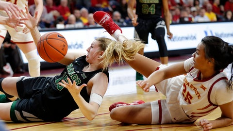 <p>               Baylor forward Lauren Cox, left, fights for a loose ball with Iowa State center Kristin Scott, right, during the second half of an NCAA college basketball game, Saturday, Feb. 23, 2019, in Ames, Iowa. (AP Photo/Charlie Neibergall)             </p>