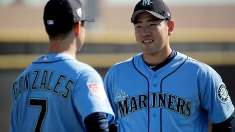 <p>               Seattle Mariners pitcher Yusei Kikuchi, from Japan, talks to pitcher Marco Gonzales during spring training baseball practice Tuesday, Feb. 12, 2019, in Peoria, Ariz. (AP Photo/Charlie Riedel)             </p>