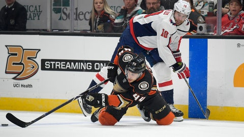 <p>               Anaheim Ducks defenseman Michael Del Zotto, below passes the puck while under pressure from Washington Capitals right wing Brett Connolly during the first period of an NHL hockey game Sunday, Feb. 17, 2019, in Anaheim, Calif. (AP Photo/Mark J. Terrill)             </p>
