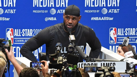 CHARLOTTE, NC - FEBRUARY 16: LeBron James #23 of Team LeBron talks to the media during 2019 NBA All-Star Practice and Media Availability on February 16, 2019 at Bojangles Coliseum in Charlotte, North Carolina. NOTE TO USER: User expressly acknowledges and agrees that, by downloading and or using this photograph, User is consenting to the terms and conditions of the Getty Images License Agreement. Mandatory Copyright Notice: Copyright 2019 NBAE (Photo by Andrew D. Bernstein/NBAE via Getty Images)