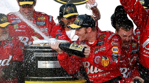 Dale Earnhardt Jr. sprays champagne on members of his crew after winning the Daytona 500 at Daytona International Speedway on Sunday, February 15, 2004 in Daytona Beach, Fla. (Jeff Siner/Charlotte Observer/TNS via Getty Images)