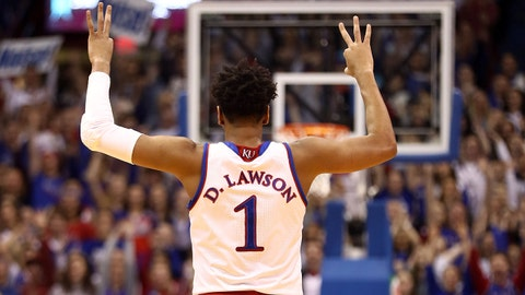 LAWRENCE, KANSAS - JANUARY 21:  Dedric Lawson #1 of the Kansas Jayhawks reacts after making a three-pointer during the game against the Iowa State Cyclones at Allen Fieldhouse on January 21, 2019 in Lawrence, Kansas. (Photo by Jamie Squire/Getty Images)