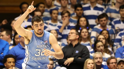 DURHAM, NORTH CAROLINA - FEBRUARY 20: Luke Maye #32 of the North Carolina Tar Heels reacts after a play against the Duke Blue Devils during their game at Cameron Indoor Stadium on February 20, 2019 in Durham, North Carolina. (Photo by Streeter Lecka/Getty Images)