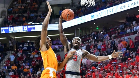 Feb 27, 2019; Oxford, MS, USA; Mississippi Rebels guard Terence Davis (3) shoots against Tennessee Volunteers forward Yves Pons (35) during the first half  at The Pavilion at Ole Miss. Mandatory Credit: Matt Bush-USA TODAY Sports