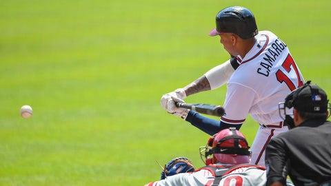Sep 22, 2018; Atlanta, GA, USA; Atlanta Braves third baseman Johan Camargo (17) singles against the Philadelphia Phillies to drive in two run during the first inning at SunTrust Park. Mandatory Credit: Dale Zanine-USA TODAY Sports