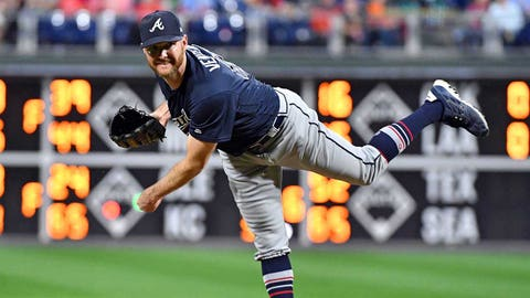Sep 29, 2018; Philadelphia, PA, USA; Atlanta Braves relief pitcher Jonny Venters (48) follows through on a pitch during the seventh inning against the Philadelphia Phillies at Citizens Bank Park. Mandatory Credit: Eric Hartline-USA TODAY Sports