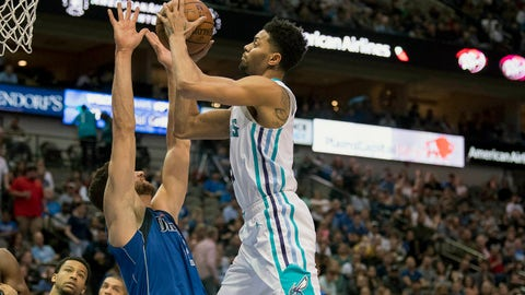 Feb 6, 2019; Dallas, TX, USA; Charlotte Hornets guard Jeremy Lamb (3) is fouled by Dallas Mavericks forward Maximilian Kleber (42) during the second half at the American Airlines Center. Mandatory Credit: Jerome Miron-USA TODAY Sports