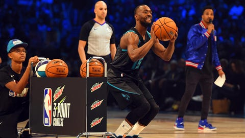 Feb 16, 2019; Charlotte, NC, USA; Charlotte Hornets guard Kemba Walker in the 3-Point Contest during the NBA All-Star Saturday Night at Spectrum Center. Mandatory Credit:  Bob Donnan-USA TODAY Sports