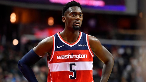 Feb 8, 2019; Washington, DC, USA; Washington Wizards forward Bobby Portis (5) looks on against the Cleveland Cavaliers during the second quarter at Capital One Arena. Mandatory Credit: Brad Mills-USA TODAY Sports