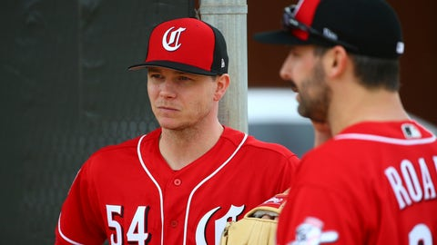 <p>               FILE - In this Feb. 13, 2019, file photo, Cincinnati Reds pitcher Sonny Gray (54) and Tanner Roark pause during workouts at the Reds spring training baseball facility, in Goodyear, Ariz. Gray agreed to a trade from the Yankees after deciding he wanted to be part of the Reds' attempt at a resurgence. Now they have to figure out where he fits in the rotation. (AP Photo/Ross D. Franklin, File)             </p>