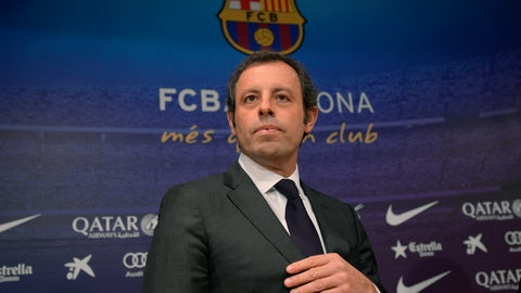 <p>               FILE - In this Thursday, Jan 23, 2014 file photo, FC Barcelona's president Sandro Rosell attends a press conference at the Camp Nou stadium in Barcelona, Spain. The trial of the former Barcelona president charged with money laundering involving the sale of television rights for Brazil matches begins on Monday Feb. 25, 2019. (AP Photo/Manu Fernandez, File)             </p>