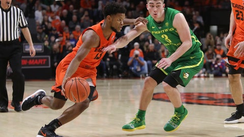 <p>               Oregon State's Antoine Vernon (13) tries to get by Oregon's Payton Pritchard (3) during the first half of an NCAA college basketball game in Corvallis, Ore., Saturday, Feb. 16, 2019. (AP Photo/Amanda Loman)             </p>
