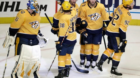 <p>               Nashville Predators defenseman Roman Josi (59), of Switzerland, is congratulated after scoring an empty-net goal against the Arizona Coyotes during the third period of an NHL hockey game Tuesday, Feb. 5, 2019, in Nashville, Tenn. The Predators won 5-2. (AP Photo/Mark Humphrey)             </p>