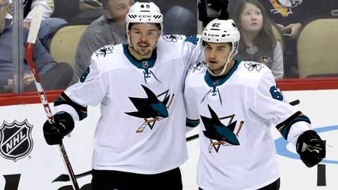 <p>               San Jose Sharks' Tomas Hertl (48) celebrates his second goal of the first period with Kevin Labanc (62) during an NHL hockey game against the Pittsburgh Penguins in Pittsburgh, Thursday, Feb. 21, 2019. (AP Photo/Gene J. Puskar)             </p>
