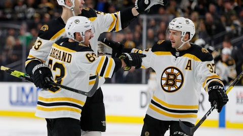 <p>               Boston Bruins left wing Brad Marchand (63) celebrates with teammates Zdenoa Chara, back left, and Patrice Bergeron after scoring against the Vegas Golden Knights during the third period of an NHL hockey game Wednesday, Feb. 20, 2019, in Las Vegas. (AP Photo/John Locher)             </p>