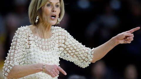 <p>               Connecticut associate head coach Chris Dailey directs her team during the second half of an NCAA college basketball game against Wichita State in Wichita, Kan., Tuesday, Feb. 26, 2019. UConn won 84-47. (AP Photo/Orlin Wagner)             </p>