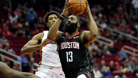 <p>               Houston Rockets' James Harden (13) goes up for a shot as Miami Heat's Josh Richardson defends during the second half of an NBA basketball game Thursday, Feb. 28, 2019, in Houston. The Rockets won 121-118. (AP Photo/David J. Phillip)             </p>