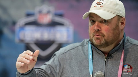 <p>               Cleveland Browns head coach Freddie Kitchens speaks during a press conference at the NFL football scouting combine in Indianapolis, Wednesday, Feb. 27, 2019. (AP Photo/Michael Conroy)             </p>