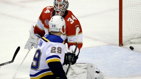 <p>               St. Louis Blues defenseman Vince Dunn (29) scores the game-winning goal against Florida Panthers goaltender James Reimer (34) during the third period of an NHL hockey game, Tuesday, Feb. 5, 2019, in Sunrise, Fla. St. Louis won 3-2. (AP Photo/Lynne Sladky)             </p>