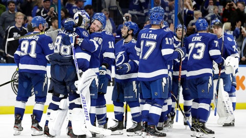 <p>               The Tampa Bay Lightning celebrate their 4-3 shootout win over the Los Angeles Kings during an NHL hockey game Monday, Feb. 25, 2019, in Tampa, Fla. (AP Photo/Chris O'Meara)             </p>