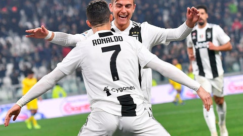 <p>               Juventus' Cristiano Ronaldo celebrates with his teammate Paulo Dybala after scoring during the Serie A soccer match between Juventus and Frosinone at the Allianz Stadium in Turin, Italy,  Friday, Feb. 15, 2019. (Alessandro Di Marco/ANSA via AP)             </p>