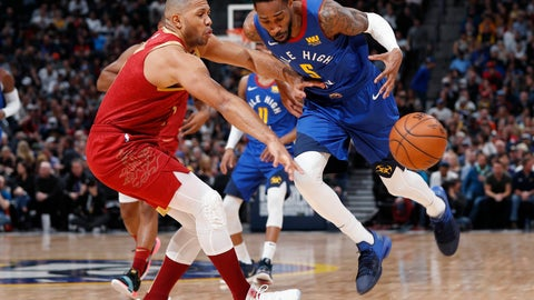 <p>               Houston Rockets guard Eric Gordon, left, knocks the ball away from Denver Nuggets guard Will Barton during the second half of an NBA basketball game Friday, Feb. 1, 2019, in Denver. The Nuggets won 136-122. (AP Photo/David Zalubowski)             </p>