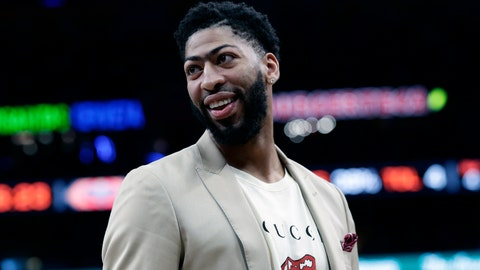 <p>               FILE - In this Feb. 2, 2019, file photo, New Orleans Pelicans forward Anthony Davis (23) smiles during the second half of an NBA basketball game against the San Antonio Spurs, in San Antonio. Only a few hours remain to determine if the Anthony Davis saga ends for this season or lingers into the summer. The NBA trade deadline is Thursday, Feb. 7, 2019, at 3 p.m. EST, and Davis is still seeking a trade from the New Orleans Pelicans.(AP Photo/Eric Gay, File)             </p>
