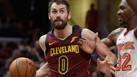 <p>               FILE - In this Feb. 11, 2019, file photo, Cleveland Cavaliers' Kevin Love (0) drives past New York Knicks' Noah Vonleh (32) in the first half of an NBA basketball game, in Cleveland. Love relaxed on the beach under the warm Caribbean sun during the All-Star break. He's hoping it keeps shining on him and the Cavaliers in the second half of a depressing, gloomy season.(AP Photo/Tony Dejak, File)             </p>