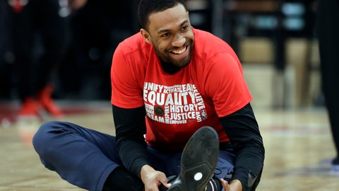 <p>               Washington Wizards forward Jabari Parker smiles as he stretches before an NBA basketball game against the Chicago Bulls, Saturday, Feb. 9, 2019, in Chicago. (AP Photo/Nam Y. Huh)             </p>