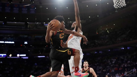 <p>               Cleveland Cavaliers' Collin Sexton (2) looks to pass the ball away from New York Knicks' Mitchell Robinson during the second half of an NBA basketball game Thursday, Feb. 28, 2019, in New York. The Cavaliers won 125-118. (AP Photo/Frank Franklin II)             </p>