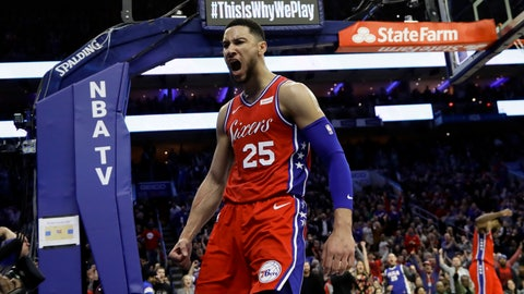 <p>               Philadelphia 76ers' Ben Simmons reacts after being fouled during the second half of the team's NBA basketball game against the Denver Nuggets, Friday, Feb. 8, 2019, in Philadelphia. Philadelphia won 117-110. (AP Photo/Matt Slocum)             </p>