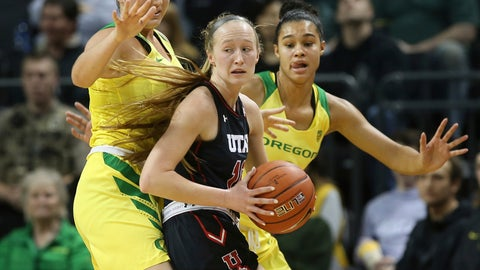 <p>               Oregon's Erin Boley, left, and Satou Sabally, right, pressure Utah's Dru Gylten during the first quarter of an NCAA college basketball game Friday, Feb. 1, 2019, in Eugene, Ore. (AP Photo/Chris Pietsch)             </p>