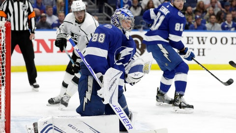 <p>               Tampa Bay Lightning goaltender Andrei Vasilevskiy (88) makes a save on a shot by the Los Angeles Kings during the first period of an NHL hockey game Monday, Feb. 25, 2019, in Tampa, Fla. (AP Photo/Chris O'Meara)             </p>