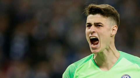 <p>               Chelsea goalkeeper Kepa Arrizabalaga reacts after stops a shot from Manchester City's Leroy Sane during a penalty shootout at the end of the English League Cup final soccer match between Chelsea and Manchester City at Wembley stadium in London, England, Sunday, Feb. 24, 2019. (AP Photo/Tim Ireland)             </p>