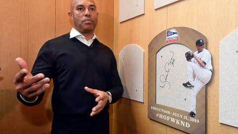 <p>               Baseball Hall of Fame inductee Mariano Rivera speaks after signing the backer board where his plaque will hang while visiting the National Baseball Hall of Fame and Museum, Friday, Feb. 1, 2019, in Cooperstown, N.Y. The former New York Yankees closer will be inducted on July 21. (AP Photo/Hans Pennink)             </p>