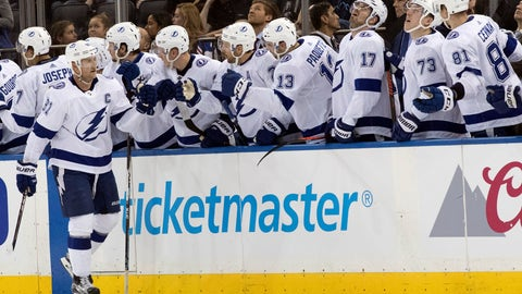 <p>               Tampa Bay Lightning center Steven Stamkos (91) celebrates after scoring a goal during the second period of an NHL hockey game against the New York Rangers, Saturday, Feb. 2, 2019, at Madison Square Garden in New York. (AP Photo/Mary Altaffer)             </p>