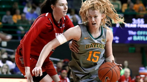 <p>               Texas Tech forward Brittany Brewer (20) defends as Baylor forward Lauren Cox (15) makes a move to the basket for a shot in the second half of an NCAA college basketball game in Waco, Texas, Saturday, Feb. 2, 2019. (AP Photo/Tony Gutierrez)             </p>