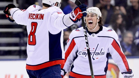 <p>               Washington Capitals left wing Alex Ovechkin (8) celebrates his goal with teammate T.J. Oshie (77) during second-period NHL hockey game action against the Toronto Maple Leafs in Toronto, Thursday, Feb. 21, 2019. (Frank Gunn/The Canadian Press via AP)             </p>