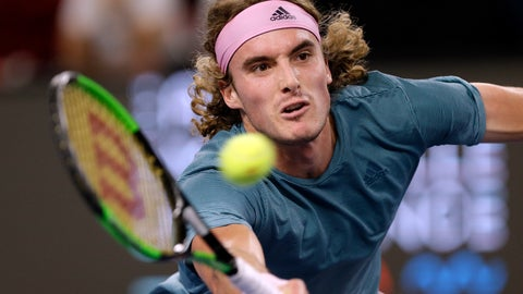 <p>               Stefanos Tsitsipas of Greece returns the ball to Mikhail Kukushkin of Kazakhstan during their final match at the Open 13 Provence tennis tournament in Marseille, southern France, Sunday Feb.24, 2019.(AP Photo/Claude Paris)             </p>