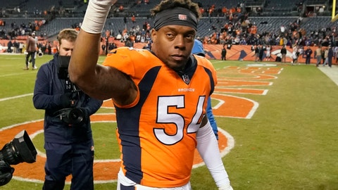 "<p>               FILE - In this Dec. 30, 2018, file photo, Denver Broncos inside linebacker Brandon Marshall gestures after an NFL game against the Los Angeles Chargers, in Denver. Even though Brandon Marshall was expecting it, Friday's, Feb. 15, 2019, news that he'd probably played his last game in Denver threw him for a bit of a loop. ""It's just different when it's in the news and everybody knows about it and it's not just you and your agent talking about it,"" Marshall said after the Broncos told his agent, Drew Rosenhause, they didn't plan to pick up Marshall's option. (AP Photo/Jack Dempsey, File)             </p>"