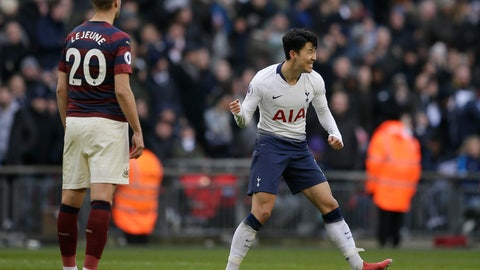 <p>               Tottenham's Son Heung-min, right, celebrates after scoring his side's opening goal during the English Premier League soccer match between Tottenham Hotspur and Newcastle at Wembley Stadium in London, Saturday, Feb. 2, 2019. (AP Photo/Tim Ireland)             </p>