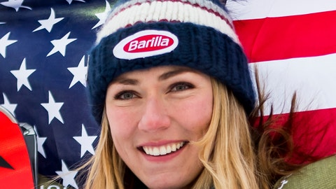 <p>               Mikaela Shiffrin of the United States, gold medal, celebrates during the flower ceremony after the women Super-G race at the 2019 FIS Alpine Skiing World Championships in Are, Sweden Tuesday, Feb. 5, 2019. (Jean-Christophe Bott/Keystone via AP)             </p>